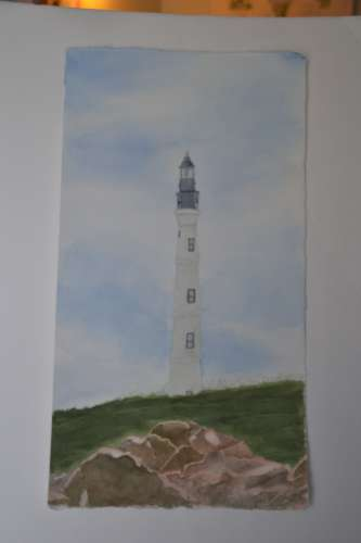 "Aruba-California Lighthouse, w/c, 12""x22"" (framed: 17.5""x28""), $$450.0000"