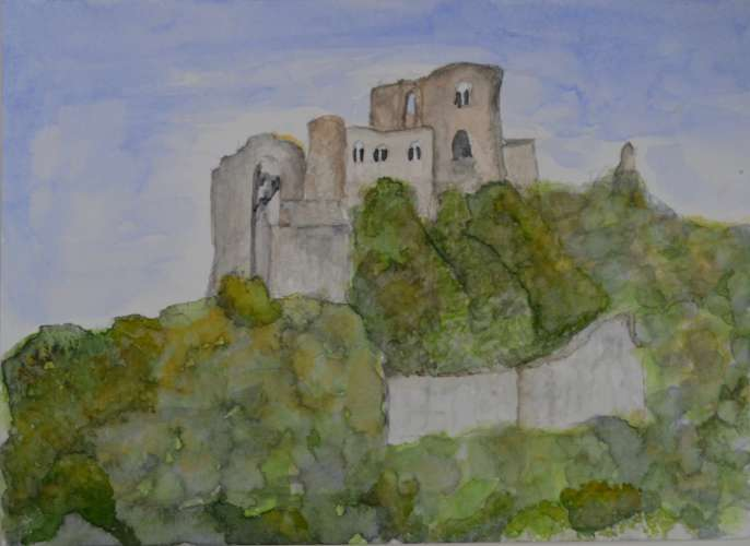 "Chateaux Guillard, w/c, 9.5x7"" (framed: 14.5x11.5), $$150.0000"
